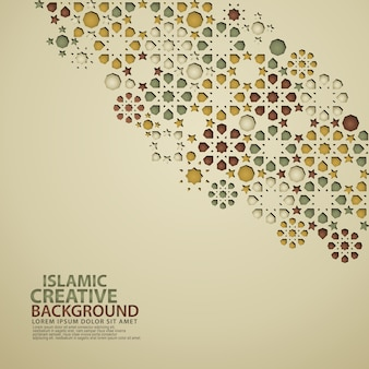 Islamic design greeting card background template with ornamental colorful of mosaic