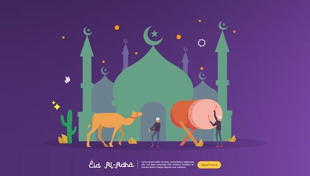 Islamic design illustration concept for happy eid al adha or sacrifice celebration event
