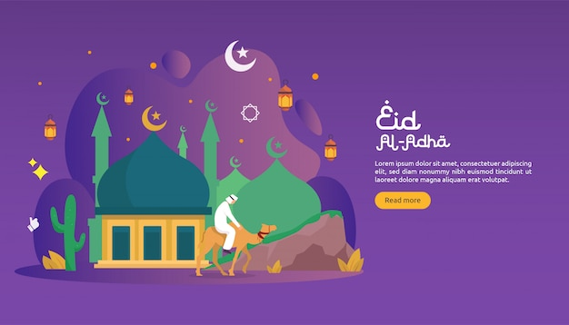 Islamic design illustration concept for happy eid al adha or sacrifice celebration event