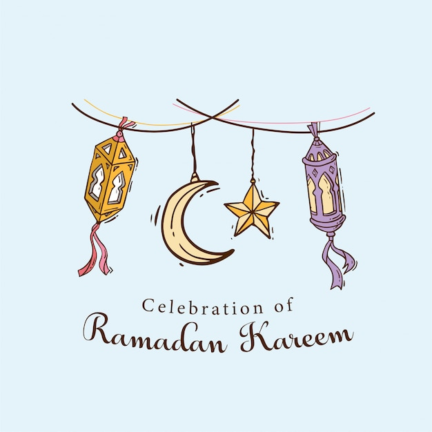 Islamic doodle art banner for ramadan kareem