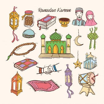 Islamic doodle art set for ramadan kareem