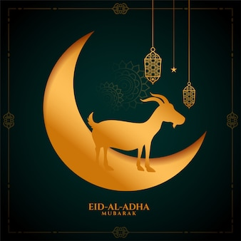 Islamic eid al adha bakrid mubarak golden background