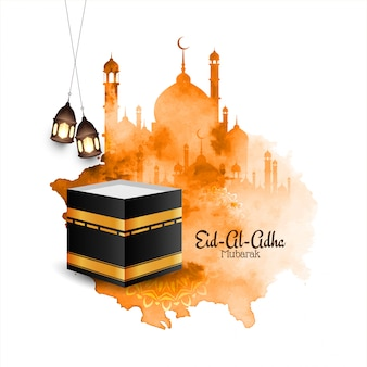 Islamic eid al adha mubarak watercolor background with mosque