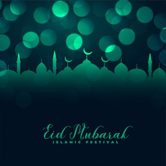 Islamic eid mubarak mosque bokeh greeting design