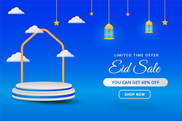 Islamic eid sale banner with 3d podium