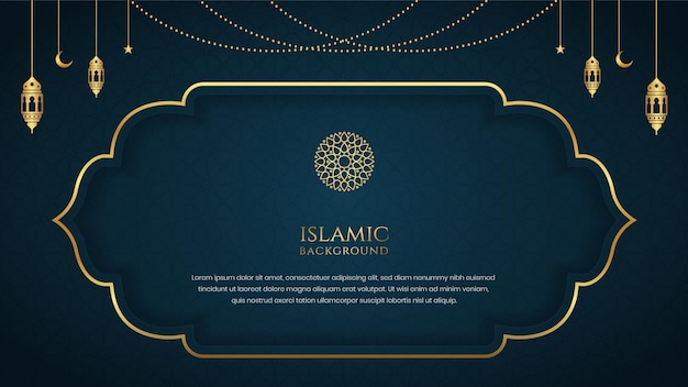 Islamic elegant background template design with decorative golden ornament frame