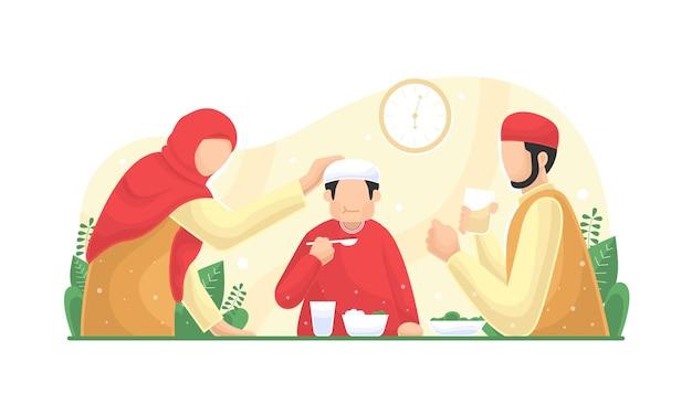 라마단 플랫의 달에 이슬람 가족 금식