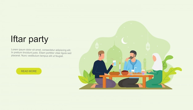 Islamic family iftar eating after fasting landing page