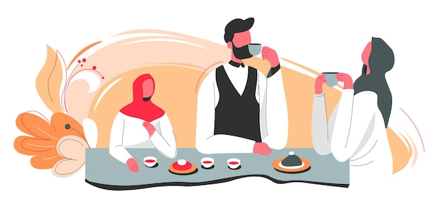 Islamic family of mother and father with daughter sitting by table drinking tea or coffee and communicating. evening or morning in arabian house, characters having dinner. vector in flat style
