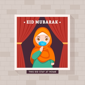 Islamic festival concept, muslim woman wearing mask welcomes (salam) on occasion of eid.  eid mubarak concept during covid-19.