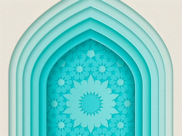Islamic festival design with multi layers arch background in paper style, 3d illustration