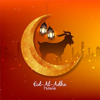 Islamic festival eid al adha mubarak background with moon