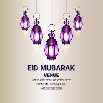 Islamic festival of eid mubarak celebration card with creative arabic lantern
