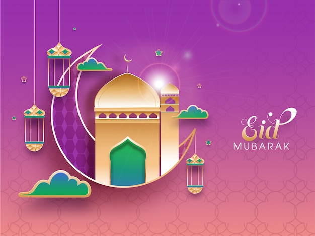 Islamic festival of eid mubarak concept with crescent moon, golden mosque, hanging lantersn on shiny peach and pink background.