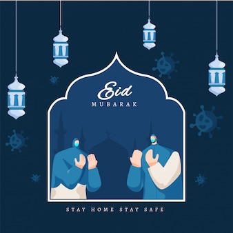 Islamic festival eid mubarak concept with muslim man and woman wearing mask, and corona virus on background. eid celebrations during covid-19, stay home and stay safe.