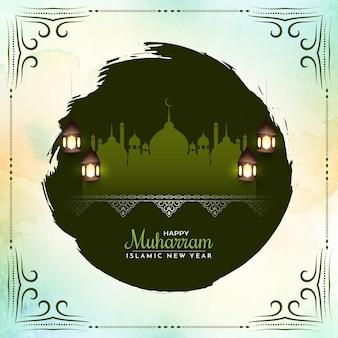 イスラム祭ムハッラムとイスラムの新年の挨拶の背景ベクトル