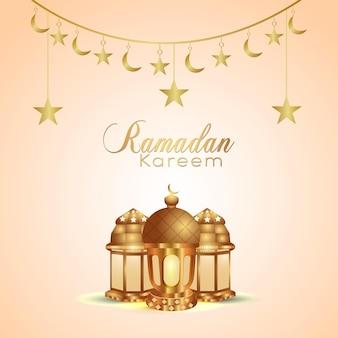 Islamic festival ramadan kareem background with islamic lantern