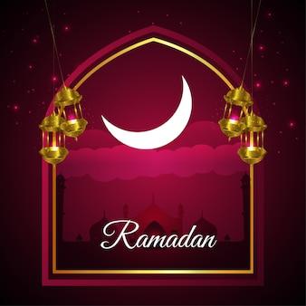 이슬람 축제 라마단 카림 또는 이드 무바라크 그림 및 배경 프리미엄 벡터