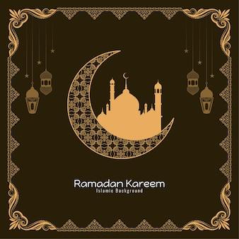 Исламский фестиваль рамадан карим религиозный фон дизайн