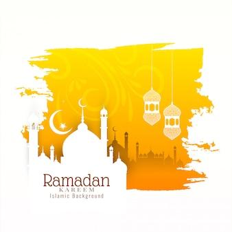 Исламский фестиваль рамадан карим желтый фон