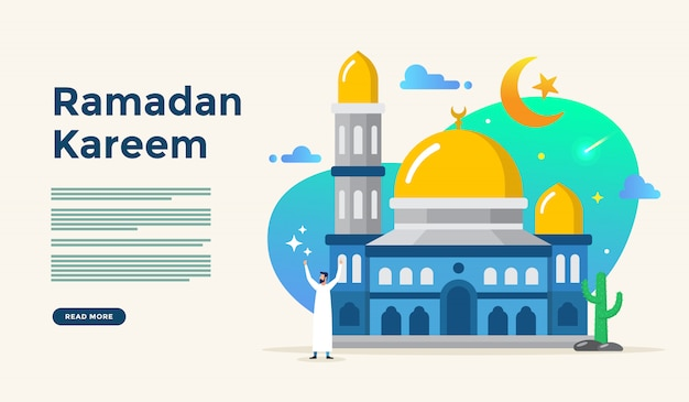 웹 방문 페이지 템플릿에 대한 사람들이 문자 개념 해피 아이드 fitr 또는 adha mubarak 및 라마단 카림 이슬람 평면 디자인 일러스트 레이션