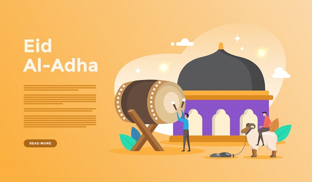 Islamic flat design illustration for happy eid fitr or adha mubarak and ramadan kareem with people character concept for web landing page template