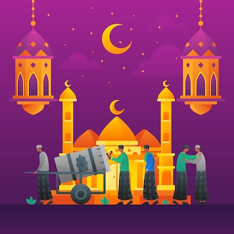 Islamic flat illustration mosque and people talking