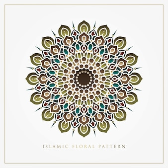 グリーティングカード、背景、壁紙、エンブレムのイスラムの花柄のデザイン