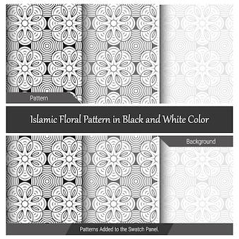 Исламский цветочный узор в черно-белом цвете.