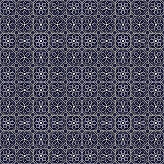 Islamic geometric seamless pattern background wallpaper in luxury navy batik style