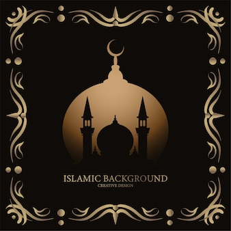 Исламская открытка с орнаментом или цветочной рамкой дизайн фона черного и золотого цвета.