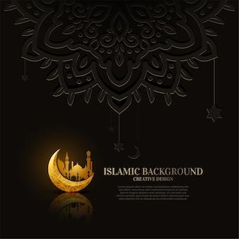 飾りや曼荼羅のデザインの背景を持つイスラムのグリーティングカード。