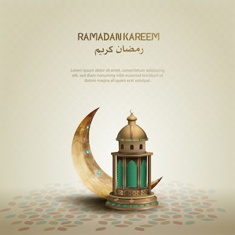 Islamic greeting design ramadan kareem with crescent moon and lantern