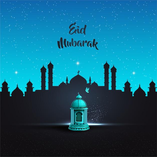 Исламское приветствие ид мубарак дизайн карты с красивым синим фонарем