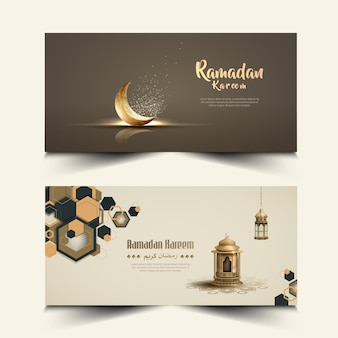 Islamic greeting ramadan kareem banner design with crescent and lantern