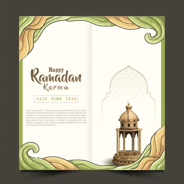 美しいランタンとイスラムの挨拶ラマダンカリームパンフレットデザイン