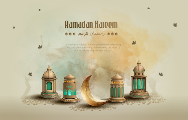 Islamic greeting ramadan kareem card design background with beautiful lanterns and crescent moon