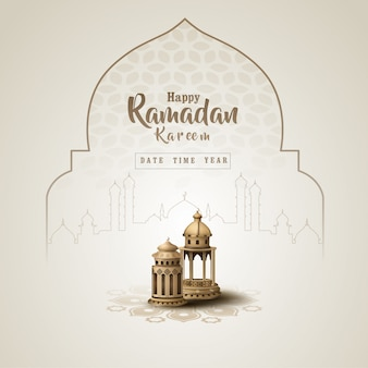 Islamic greeting ramadan kareem card design template with beautiful lanterns