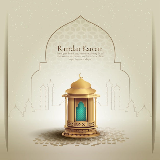 Islamic greeting ramadan kareem card design with beautiful gold lantern and mosque line