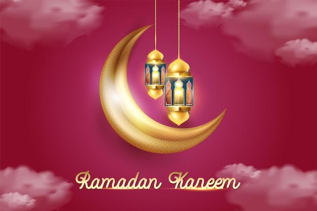 Islamic greeting ramadan kareem card design with beautiful lanterns and crescent moon