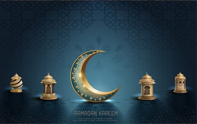 Islamic greeting ramadan kareem card design with crescent and lanterns