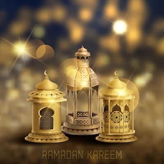 Islamic greeting ramadan kareem card design with gold lanterns