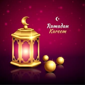 Islamic greeting ramadan kareem card with beautiful lantern
