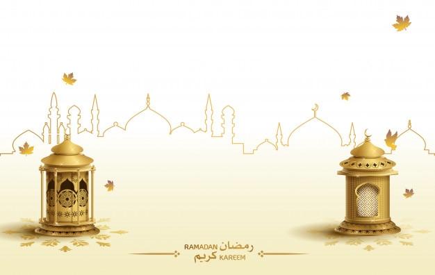 Islamic greeting ramadan kareem card with two gold lantern