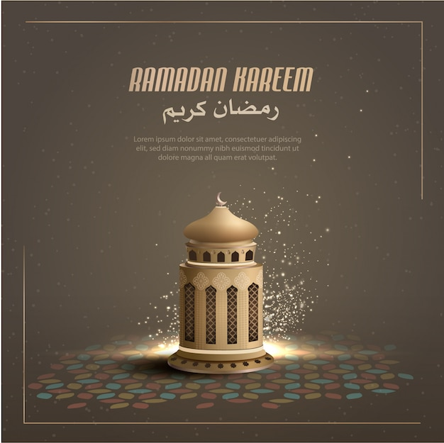 Islamic greetings card design background with gold lantern