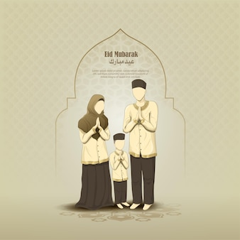 이슬람 가족 캐릭터와 이슬람 인사말 eid 무바라크 카드 디자인