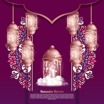 Islamic greetings ramadan kareem card design background with beautiful lanterns