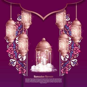아름다운 등불 이슬람 인사말 라마단 카림 카드 디자인 배경