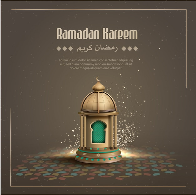 Islamic greetings ramadan kareem card design background with gold lantern