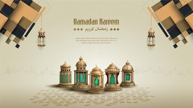 Islamic greetings ramadan kareem card design with beautiful lanterns and ornament